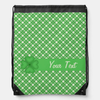 Shamrock leaf Clover Hearts pattern Customizable Drawstring Bags
