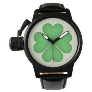 Shamrock leaf Clover Hearts pattern Wrist Watch