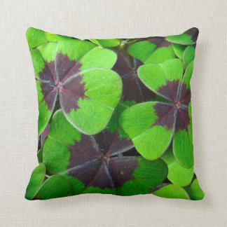 Shamrock Leaves - Red and Green - Clover - Oxalis Throw Pillow