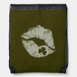 Shamrock Lips - Kiss Me I'm Irish Draw String Bag