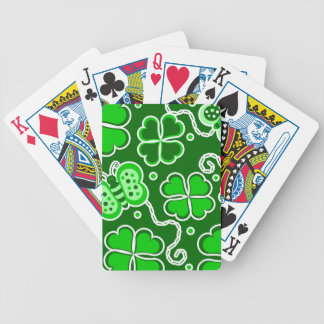 Shamrock Lucky Four Leaf Clover & Butterflies Bicycle Playing Cards