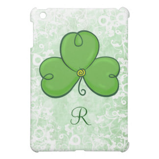 Shamrock Lucky Green Clover with Monogram Case For The iPad Mini