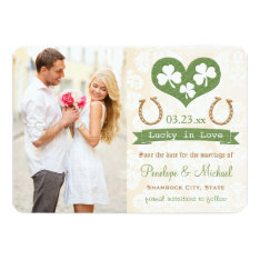 Shamrock Lucky In Love Save The Date Card at Zazzle