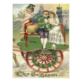 Shamrock Married Couple Horse Carriage Cherub Postcard