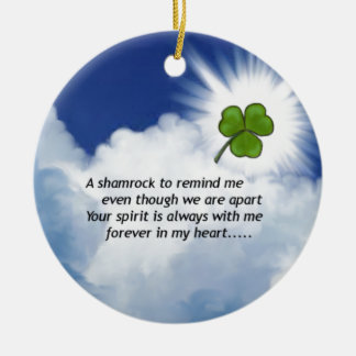 Shamrock Memorial Double-Sided Ceramic Round Christmas Ornament