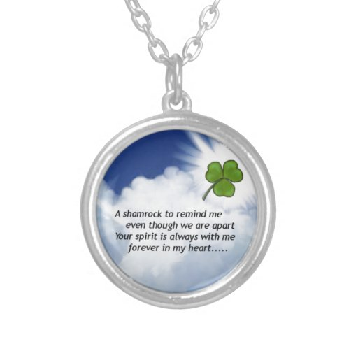 Shamrock Memorial Round Pendant Necklace
