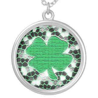 Shamrock Mosaic Round Pendant Necklace
