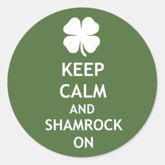 Shamrock On Green Classic Round Sticker