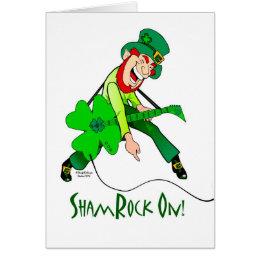 ShamRock On! Leprechaun Playing Electric Guitar Card