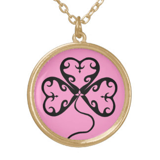 Shamrock on pink gold plated necklace