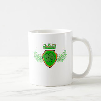 Shamrock on Shield with Wings and Crown Mug