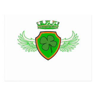 Shamrock on Shield with Wings and Crown Postcard