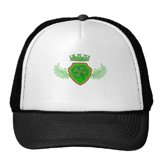 Shamrock on Shield with Wings and Crown Trucker Hat