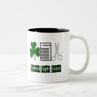 Shamrock, Paper, Scissors-Mug Two-Tone Coffee Mug