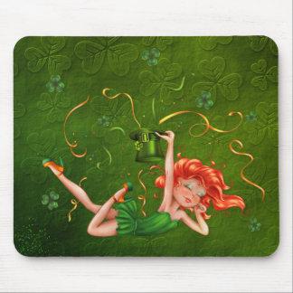 Shamrock Party Girl Mousepads