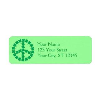 Shamrock Peace Sign Label Return Address Label