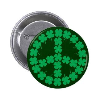 Shamrock Peace Symbol Button