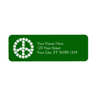 Shamrock Peace Symbol Return Address Label