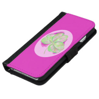 Shamrock Pink Wallet Phone Case For iPhone 6/6s