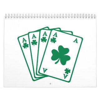 Shamrock poker cards wall calendar