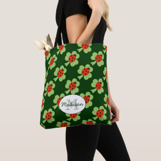 Shamrock Polka dots Ladybug Ladybird Monogram Tote Bag