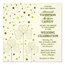 Shamrock Polka Dots Wedding Invitation