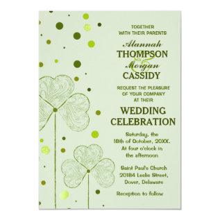 Shamrock Polka Dots Wedding Invitation 2 at Zazzle