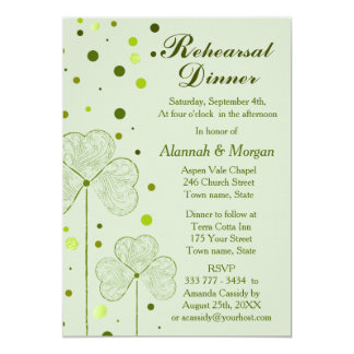 Shamrock Polka Dots Wedding Rehearsal Dinner 2 Card