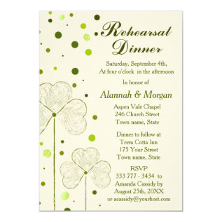 Shamrock Polka Dots Wedding Rehearsal Dinner Card at Zazzle