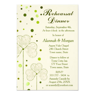 Shamrock Polka Dots Wedding Rehearsal Dinner Card