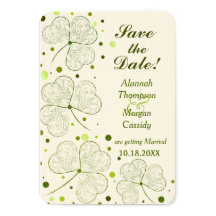 Shamrock Polka Dots Wedding Save The Date Custom Announcements