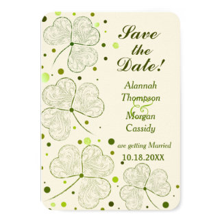 Shamrock Polka Dots Wedding Save The Date 3.5x5 Paper Invitation Card