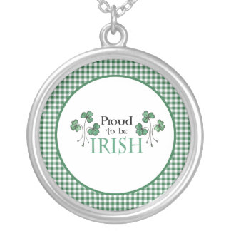 Shamrock Proud to be Irish Silver Plated Necklace