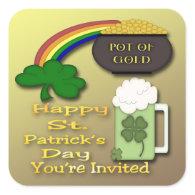 Shamrock Rainbow Invitation envelope seal Sticker
