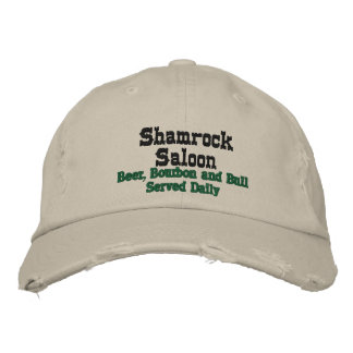 Shamrock Saloon, Beer, Bourbon and Bull Served ... Embroidered Baseball Hat