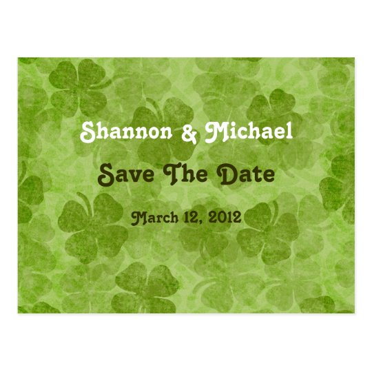 Shamrock Save The Date Postcard