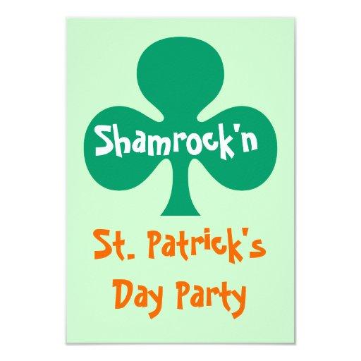 "Shamrock shamrock'n party Invitation kelly green 3.5"" X 5"" Invitation Card"