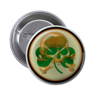 Shamrock skull button