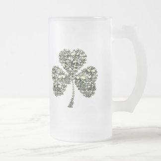 Shamrock Skulls Frosted Glass Beer Mug