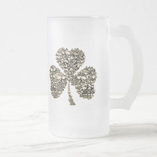 Shamrock Skulls Gothic Frosted Glass Beer Mug