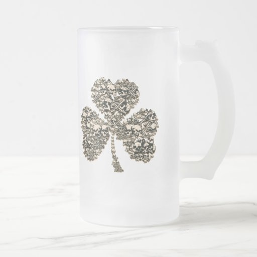Shamrock Skulls Gothic 16 Oz Frosted Glass Beer Mug