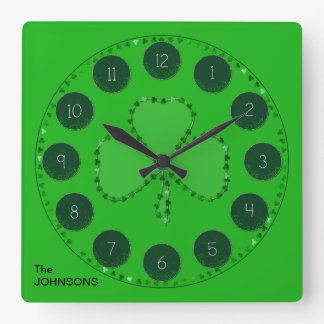 Shamrock Square Wall Clock