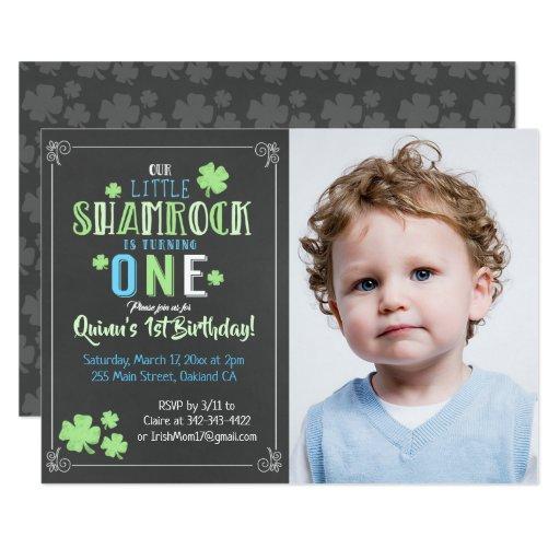 Shamrock St. Patrick's Day 1st Boy Birthday Invite