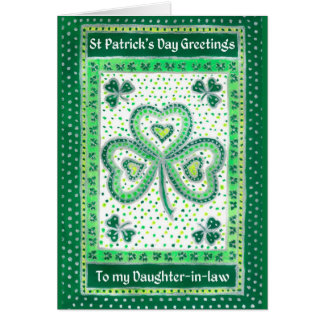 Shamrock St Patrick's Day Card for a Daughter-in-l