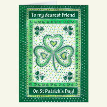 Shamrock St Patrick's Day Card for a Friend