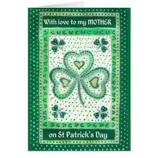 Shamrock St Patrick's Day Card for a Mother