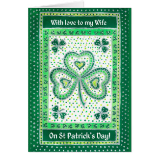 Shamrock St Patrick's Day Card for a Wife