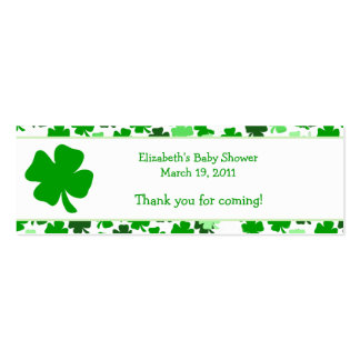 Shamrock St. Patricks Day Custom Favor Tag Double-Sided Mini Business Cards (Pack Of 20)