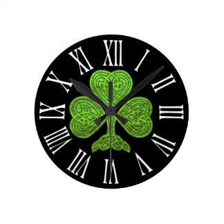 Shamrock St. Patrick's Day Green Foil Round Clock
