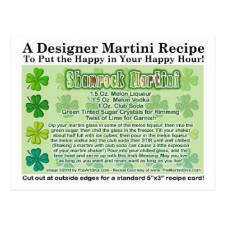Shamrock St. Patrick's Day Martini Recipe Card